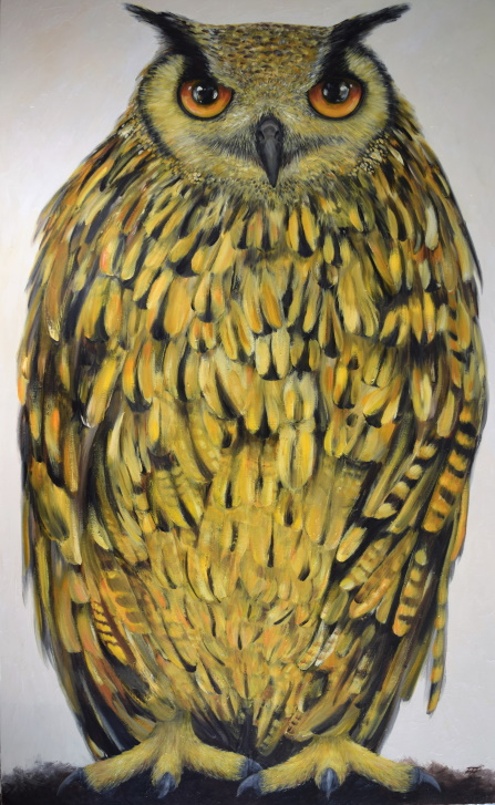 /fig/Birds - (Bengal Eagle Owl 1) Arthur - 71x43.5in - 180x110cm - oil on canvas £15,000.JPG