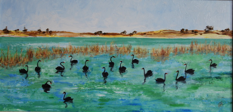 /fig/Birds - Black Swans at Lake Grace, WA No 4 - 25x50cm - 10x20in - oil on canvas £2,850.jpg