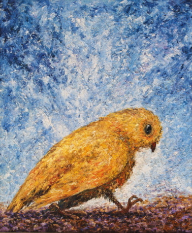 /fig/Birds - Yellow Bird Walking - 61x51cm - 24x20in - oil on canvas £4,000.jpg