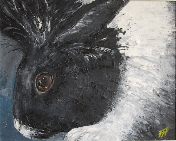 /fig/Rabbits - Black and White Rabbit 1 - 40x50cm - 16x20in - oil on canvas £3,250.jpg