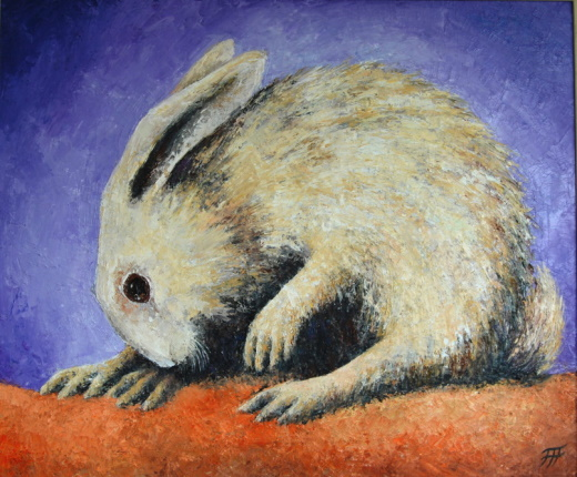 /fig/Rabbits - White Rabbit - 51x61cm - 24x20in - oil on canvas £4,000.jpg