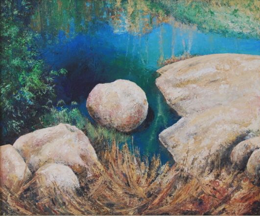 /fig/Rocks - Pond Stone - 61x51cm - 20x24in - 29th Nov 2003 oil on canvas £4,000.jpg