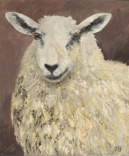 /fig/Sheep - Agnes (Smiling Sheep) 30x24cm - 12x10in - oil on canvas £1,950.JPG