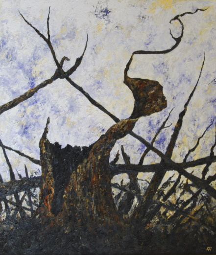 /fig/Trees - Fire Series 4 (Stump) - 107x91cm - 42x36in - oil on canvas £7,000.jpg