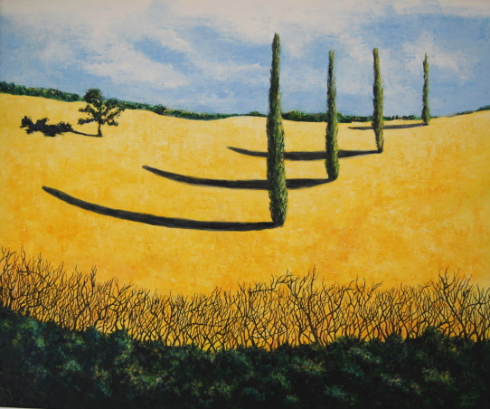 /fig/Trees - Yellow Field & Poplars 1 -76x91cm - 30x36in - oil on canvas £5,450.jpg